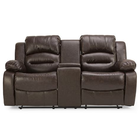 wiltshire leather 2 seater reclining sofa with console