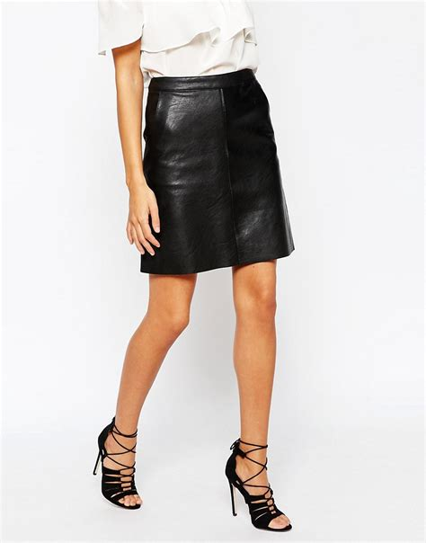 warehouse warehouse faux leather a line skirt at asos