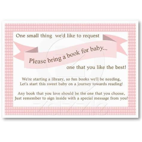 baby shower book instead of card free template pink baby shower book insert request card for