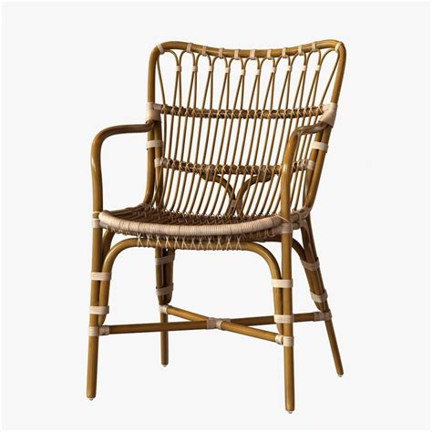 Retro Rattan Dining Arm Chair 3d Model Max Obj 3ds Fbx Ratan Dining Chairs
