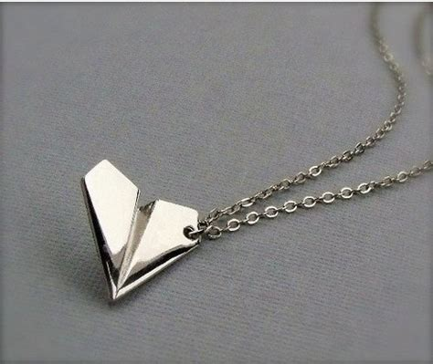 paper airplane necklace silver paper airplane necklace