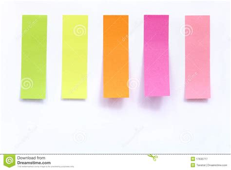 stick paper colored index paper stick on white royalty free stock