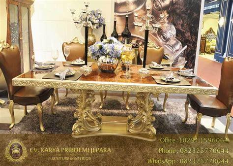 aplikasi kayu jati pada furniture rumah d sign meja makan emas mewah kombinasi veneer