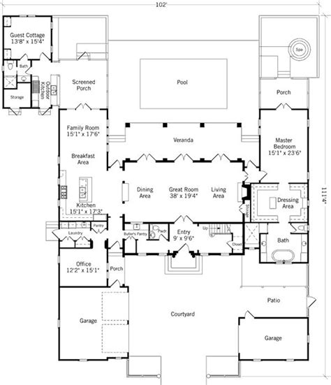 house plans with guest house attached guest cottage almost attached h plan house plans pinterest