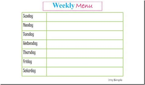 home dinner menu template search results for weekly meal planner template