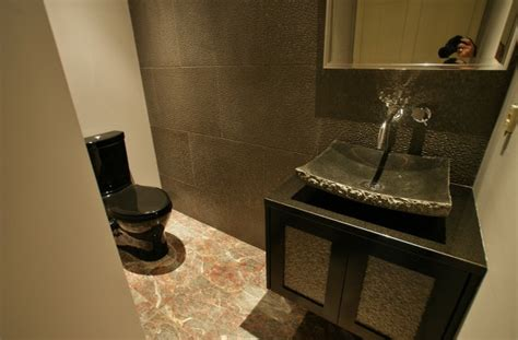 black toilet bathroom design stone forest sinks powder room contemporary with black
