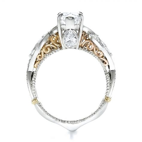 two tone engagement rings custom two tone and marquise diamond engagement ring 100620