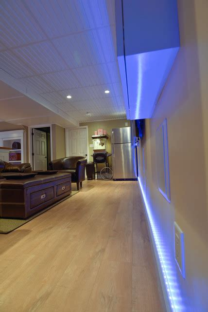 Light Fixtures For Basement Basement Remodel Led Lights Traditional Basement Philadelphia By