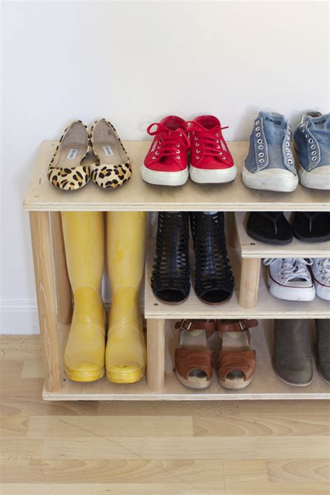 diy shoe rack by front door make a customized shoe rack with plywood and wood dowels