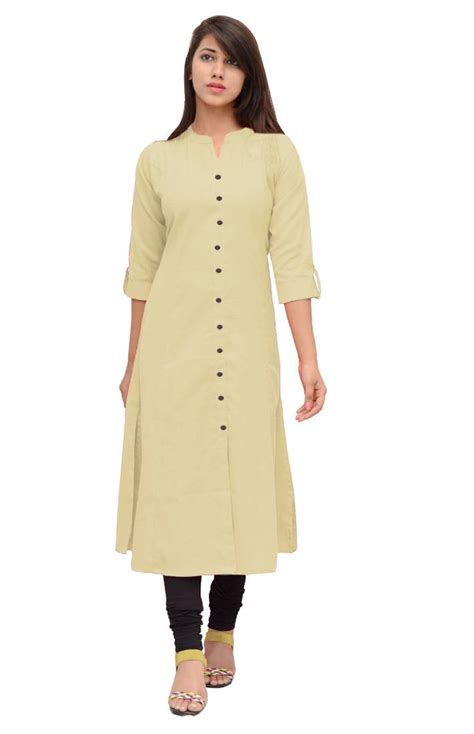 Western Home Decore by Buy Cream Linen Plain Stitched Kurti Online