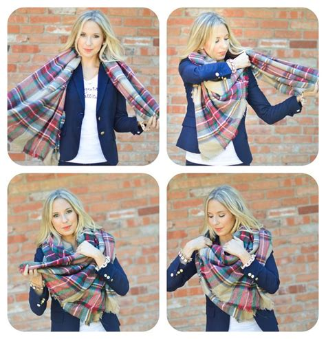 tutorial ways to wear a scarf rectangle blanket scarf clothes shoes and accessories