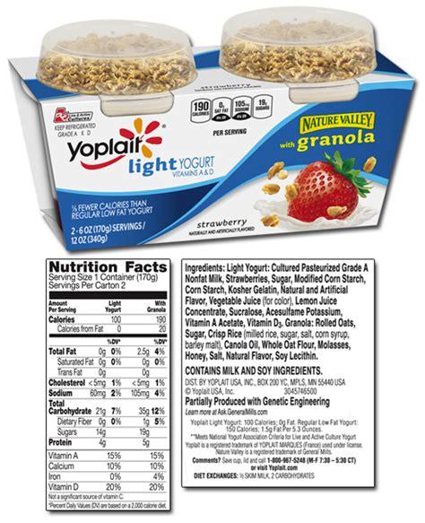 yoplait light yogurt nutrition yoplait yogurt nutrition label