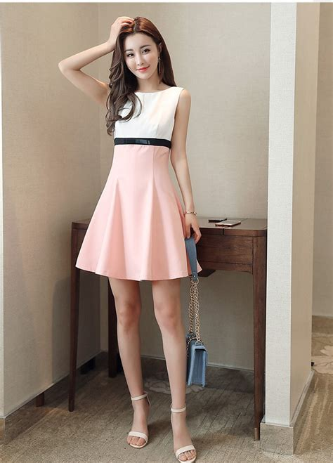 casual summer fashion light pink dresses school slim dress korean japanese style