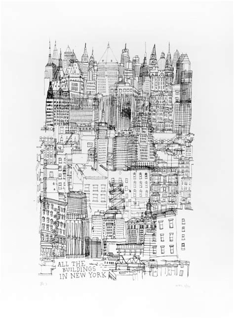construction prints all the buildings in new york screenprint james gulliver