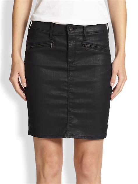 ag adriano goldschmied kodie coated denim skirt in black