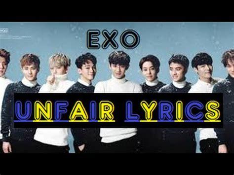 exo unfair lyrics exo 불공정 unfair lyrics youtube