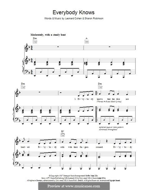 Everybody knows | sheet music direct.