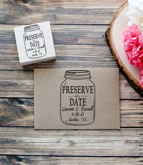 personalized rubber sts for wedding invitations custom jar preserve the date wedding invitation