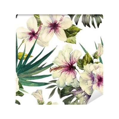 hibiscus pattern png watercolor hibiscus patterns wall mural pixers 174 we