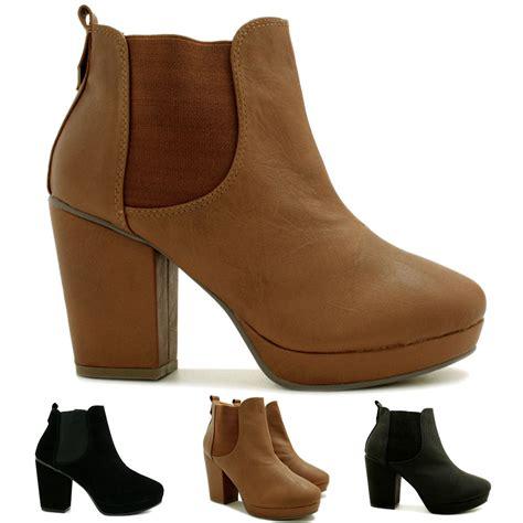 2 Die 4 Antoinette Ankle Boot by New Womens Leather Style Block Heel Chelsea Platform Ankle