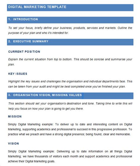 digital marketing plan template 7 free word pdf
