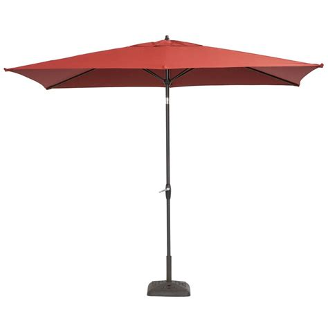 10 Foot Patio Umbrella Hton Bay 10 Ft X 6 Ft Aluminum Patio Umbrella In Chili With Push Button Tilt 9106 01004011