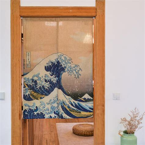 short door curtains japanese door curtain linen cotton waves printed short