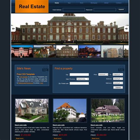 Free Html Website Templates Free Real Estate Website Templates