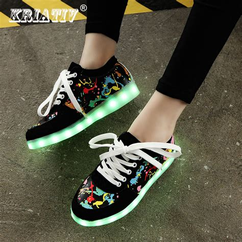 free light up shoes kriativ usb charging kid shoes glowing sneakers led