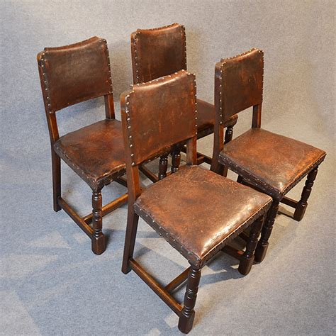 Oak Leather Dining Chairs Four Oak Leather Dining Chairs Cromwellian Antiques Atlas