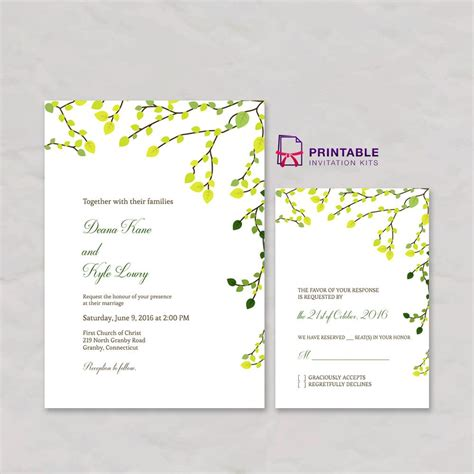 Free Pdf Greenery Invitation And Rsvp Set Free Printable Templates For Wedding Invitation And Pdf Invitations Templates