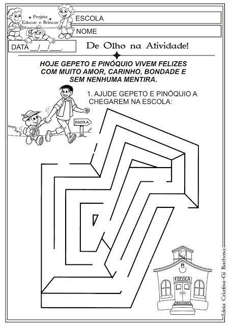 8 Atividades Conto Pinóquio Projeto Educar e Brincar e