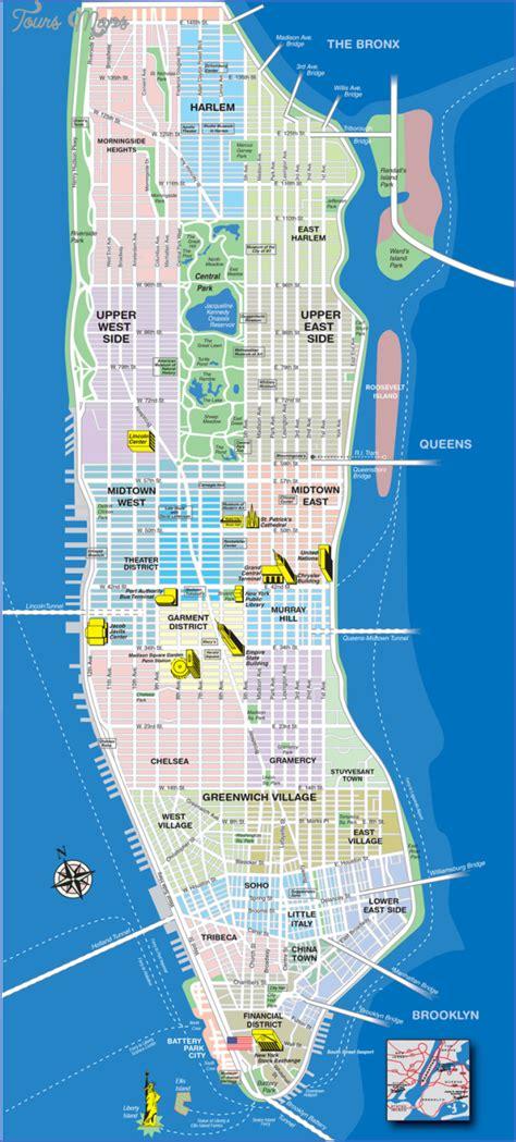 sections of manhattan map new york neighborhoods map manhattan toursmaps com
