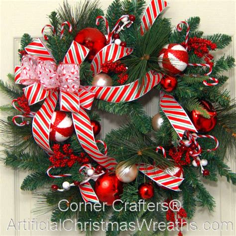 Red And White Striped Christmas Ornaments - christmas candy cane wreath artificialchristmaswreaths com holiday decorations gifts wreaths