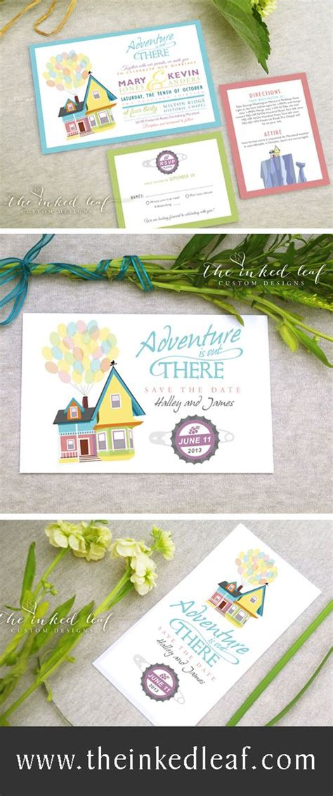 up inspired wedding invitations and save the dates from the inked leaf on etsy disney pixar