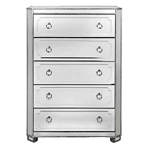 5 Drawer Mirrored Chest by Simplicity Mirrored 5 Drawer Chest Amethyst