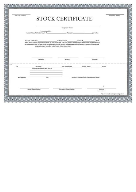 share stock certificate template download free premium