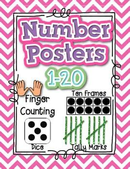 printable number posters 1 20 numbers posters 1 20 with dice ten frames tally marks