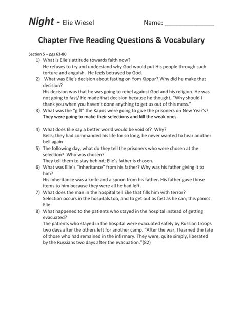 night section 5 questions essay for night by elie wiesel essay introduction words