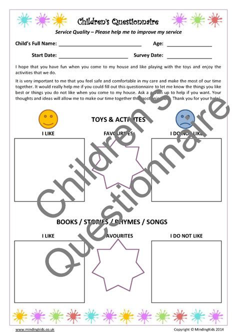 child friendly questionnaire template parent child questionnaires mindingkids