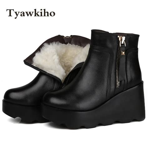 Leather Wedges Shoes 9 Cm 299 tyawkiho winter snow boots black genuine leather ankle boots sheep fur 9 cm wedge heel