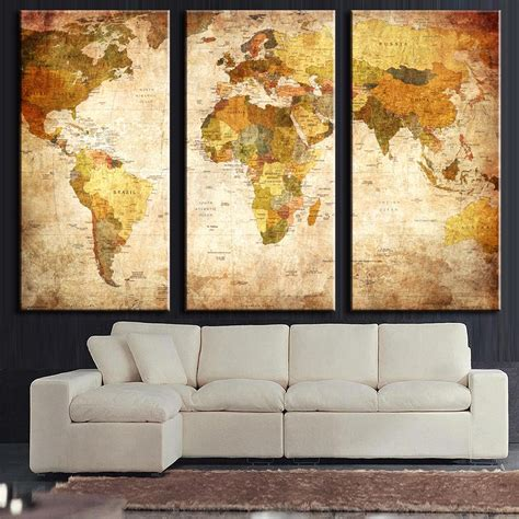3 canvas wall 3 pcs set vintage painting framed canvas wall picture classic map canvas print modern wall