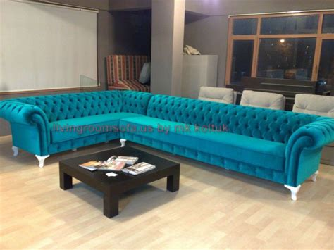Velvet Chesterfield Style Corner Sofa Purple Modern Turquoise Chesterfield Sofa