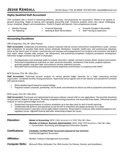 Staff Accountant Resume Sle by Sle Resume Accountant 28 Images 28 Sle Accounting Assistant Resume Fundraising Assistant