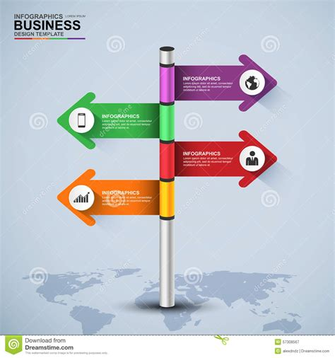 sign post template abstract 3d signpost infographic design template stock