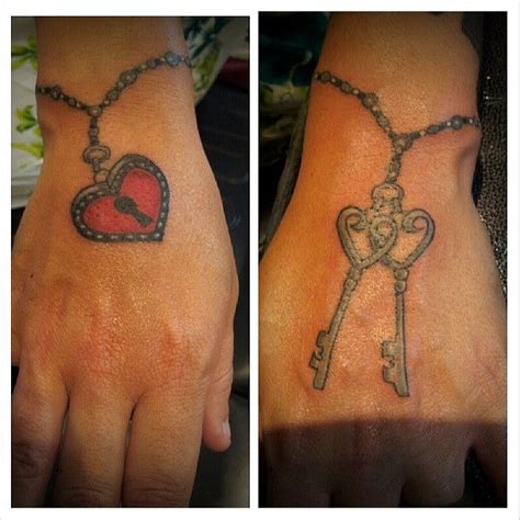 cute couple tattoos designs lock and key braceleat design cool