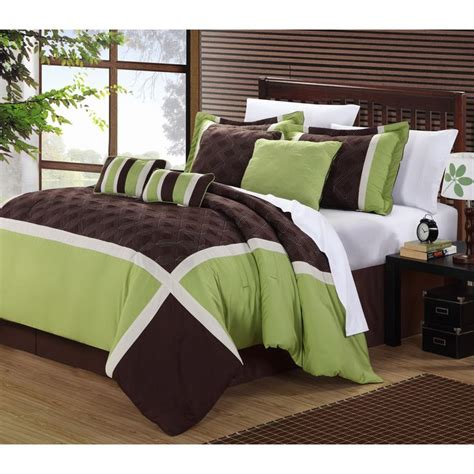 green brown oversized 8 piece comforter set
