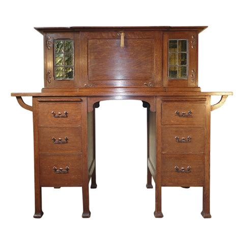 arts crafts oak writing desk possibly by maples 242154