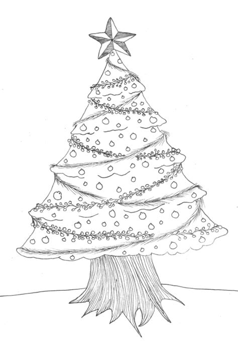 pencil drawings christmas trees tree pencil drawing drawing gallery