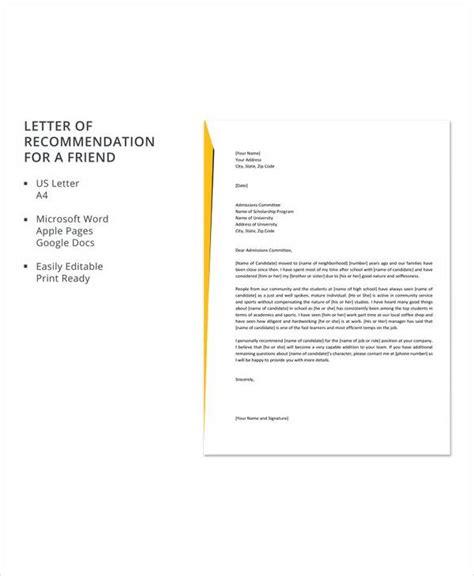 sample recommendation letter friend